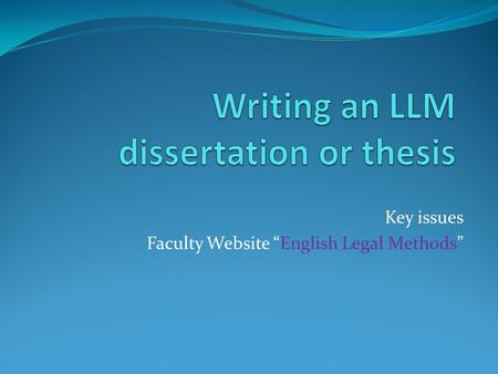 "Key issues Faculty Website ""English Legal Methods"""