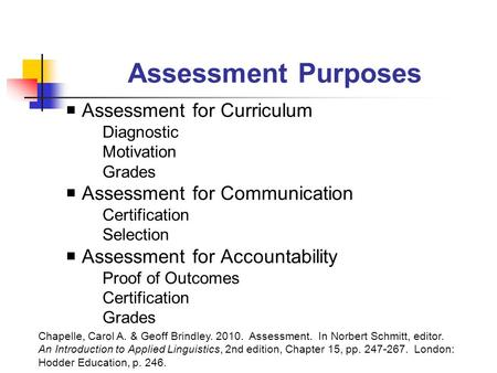 Assessment Purposes  Assessment for Curriculum Diagnostic Motivation Grades  Assessment for Communication Certification Selection  Assessment for Accountability.