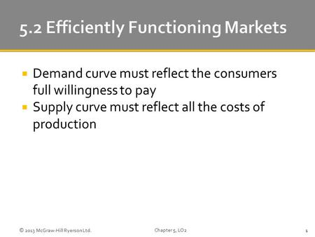  Demand curve must reflect the consumers full willingness to pay  Supply curve must reflect all the costs of production © 2013 McGraw-Hill Ryerson Ltd.