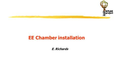 E. Richards EE Chamber installation. Summary Position Of the EE chambers General view of EEL chambers EEL5 chamber Installation of other chambers ex.