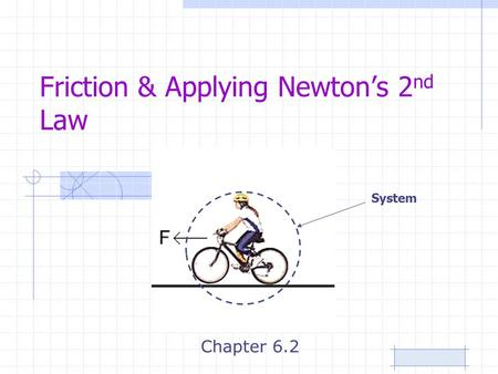 Friction & Applying Newton's 2 nd Law Chapter 6.2 System.