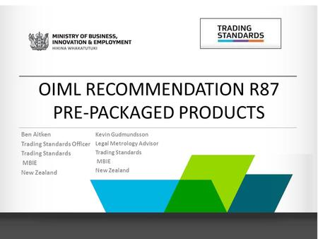 OIML RECOMMENDATION R87 PRE-PACKAGED PRODUCTS