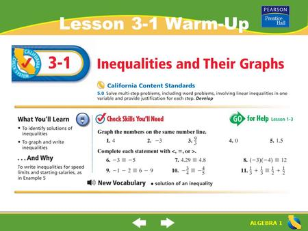 ALGEBRA 1 Lesson 3-1 Warm-Up. ALGEBRA 1 Lesson 3-1 Warm-Up.