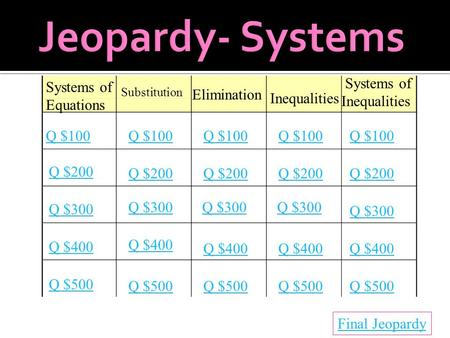 Systems of Equations Substitution Elimination Inequalities Systems of Inequalities Q $100 Q $200 Q $300 Q $400 Q $500 Q $100 Q $200 Q $300 Q $400 Q $500.