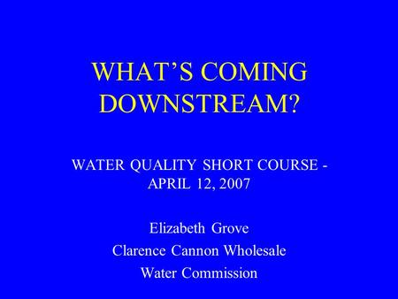 WHAT'S COMING DOWNSTREAM? WATER QUALITY SHORT COURSE - APRIL 12, 2007 Elizabeth Grove Clarence Cannon Wholesale Water Commission.