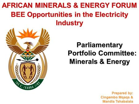 AFRICAN MINERALS & ENERGY FORUM BEE Opportunities in the Electricity Industry Parliamentary Portfolio Committee: Minerals & Energy Prepared by: Cingembo.