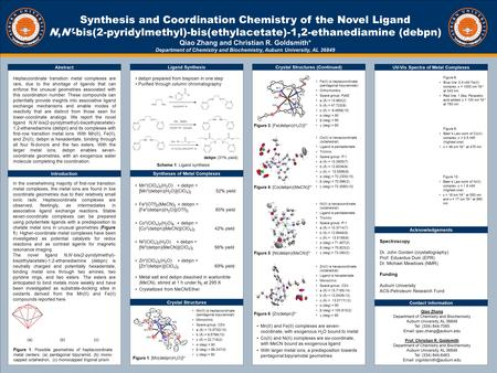 TEMPLATE DESIGN © 2008 www.PosterPresentations.com Synthesis and Coordination Chemistry of the Novel Ligand N,N'-bis(2-pyridylmethyl)-bis(ethylacetate)-1,2-ethanediamine.