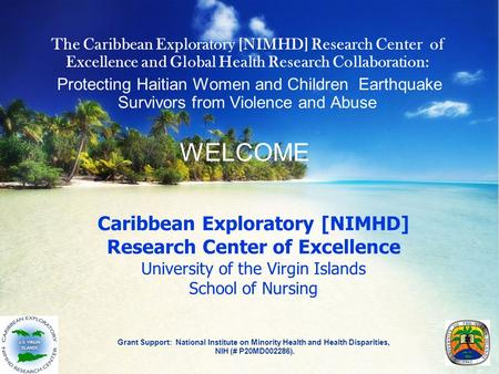 Caribbean Exploratory [NIMHD] Research Center of Excellence University of the Virgin Islands School of Nursing Grant Support: National Institute on Minority.