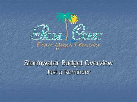 Stormwater Budget Overview Just a Reminder. Infrastructure Inventory for Stormwater Drainage System 19 Major Canal Control Structures 19 Major Canal Control.