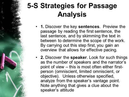 5-S Strategies for Passage Analysis