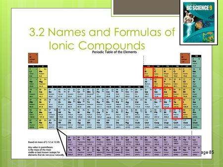 3.2 Names and Formulas of Ionic Compounds (c) McGraw Hill Ryerson 2007 See page 85 INCREASING REACTIVITY.
