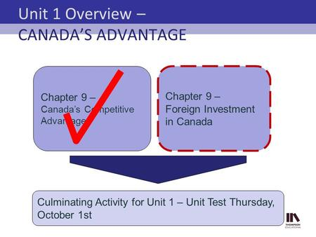 Unit 1 Overview – CANADA'S ADVANTAGE Chapter 9 – Canada's Competitive Advantage Culminating Activity for Unit 1 – Unit Test Thursday, October 1st Chapter.