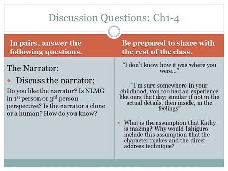 a discussion on narratives
