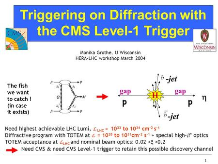 1 Triggering on Diffraction with the CMS Level-1 Trigger Monika Grothe, U Wisconsin HERA-LHC workshop March 2004 Need highest achievable LHC Lumi, L LHC.