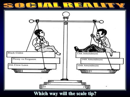 Social equality vs. legal equality Which way will the scale tip?