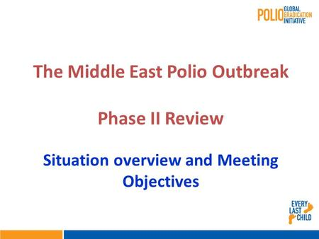 Situation overview and Meeting Objectives The Middle East Polio Outbreak Phase II Review.