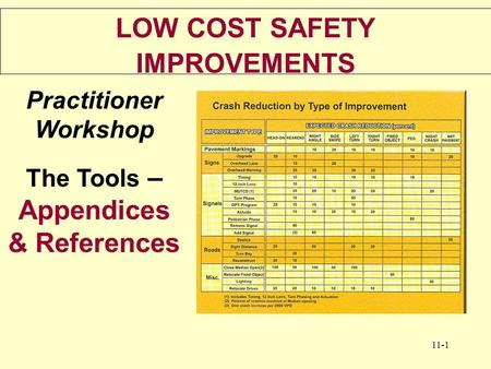 11-1 LOW COST SAFETY IMPROVEMENTS Practitioner Workshop The Tools – Appendices & References.