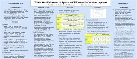 DISCUSSION These new measures may have some clinical utility such as possible indices of severity (cf. Flipsen, Hammer, & Yost, 2005). PMV may be of particular.