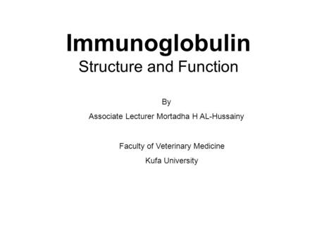 Immunoglobulin Structure and Function By Associate Lecturer Mortadha H AL-Hussainy Faculty of Veterinary Medicine Kufa University.