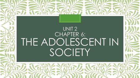 UNIT 2 CHAPTER 6: THE ADOLESCENT IN SOCIETY. SECTION 1: ADOLESCENCE IN OUR SOCIETY.