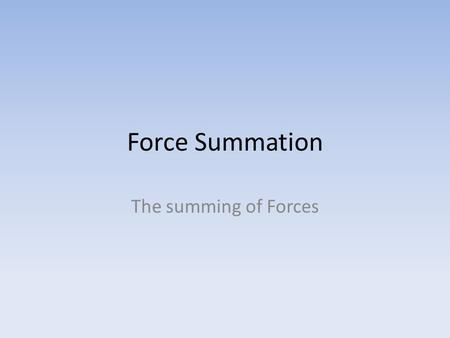 Force Summation The summing of Forces. Force Summation As we know, in order to generate momentum a force must be applied to a body An athlete is able.