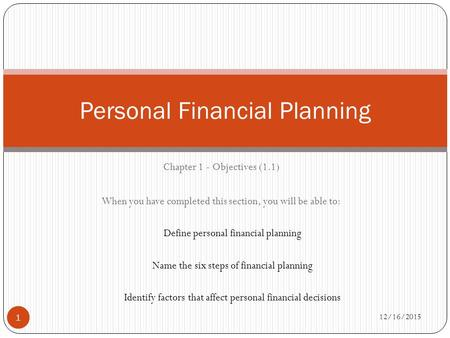 12/16/2015 1 Chapter 1 - Objectives (1.1) When you have completed this section, you will be able to: Define personal financial planning Name the six steps.