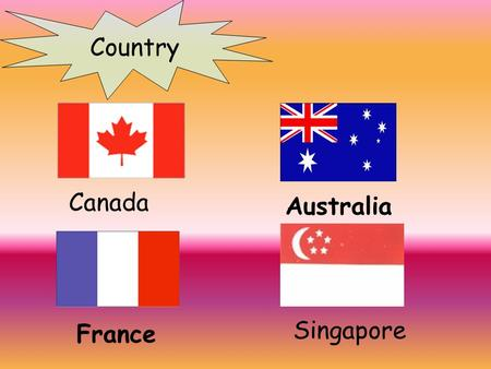 Country Canada Australia France Singapore Country China Japan Britain/the United Kingdom America/the United States.