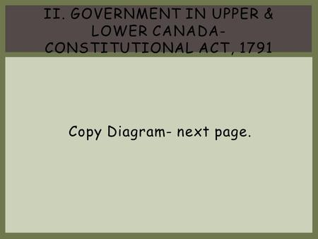 II. Government in Upper & Lower Canada- Constitutional Act, 1791
