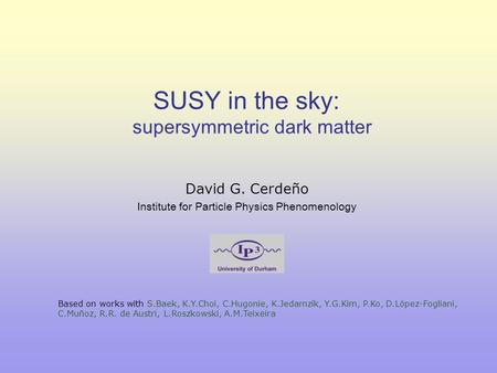SUSY in the sky: supersymmetric dark matter David G. Cerdeño Institute for Particle Physics Phenomenology Based on works with S.Baek, K.Y.Choi, C.Hugonie,