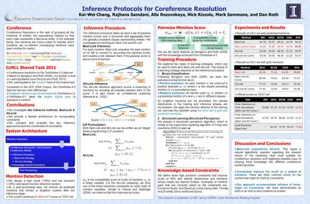 Inference Protocols for Coreference Resolution Kai-Wei Chang, Rajhans Samdani, Alla Rozovskaya, Nick Rizzolo, Mark Sammons, and Dan Roth This research.