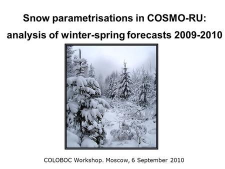 Snow parametrisations in COSMO-RU: analysis of winter-spring forecasts 2009-2010 COLOBOC Workshop. Moscow, 6 September 2010.