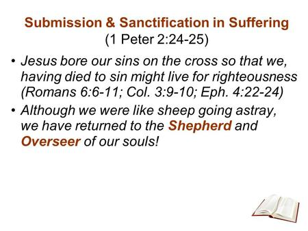 Submission & Sanctification in Suffering (1 Peter 2:24-25) Jesus bore our sins on the cross so that we, having died to sin might live for righteousness.