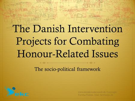 The Danish Intervention Projects for Combating Honour-Related Issues The socio-political framework www.etniskkvindeconsult.dk Copyright: Farwha Nielsen.