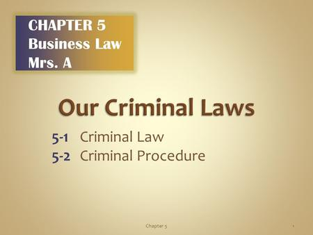 5-1Criminal Law 5-2Criminal Procedure 1Chapter 5 CHAPTER 5 Business Law Mrs. A.