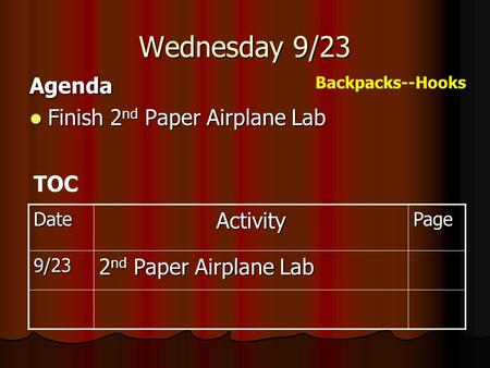 Wednesday 9/23 Agenda Finish 2 nd Paper Airplane Lab Finish 2 nd Paper Airplane Lab DateActivityPage 9/23 2 nd Paper Airplane Lab TOC Backpacks--Hooks.