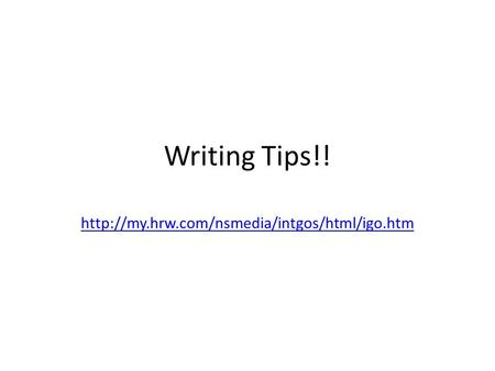 Writing Tips!!
