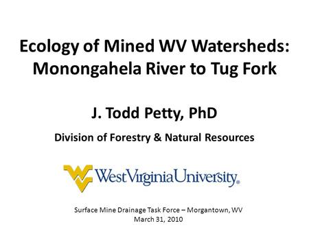 Ecology of Mined WV Watersheds: Monongahela River to Tug Fork J. Todd Petty, PhD Division of Forestry & Natural Resources Surface Mine Drainage Task Force.