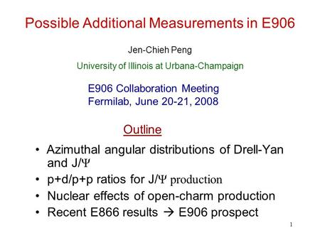 1 Possible Additional Measurements in E906 Azimuthal angular distributions of Drell-Yan and J/ Ψ p+d/p+p ratios for J/ Ψ production Nuclear effects of.