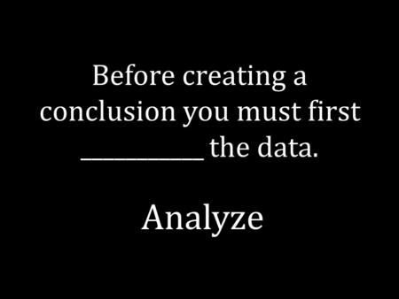 Before creating a conclusion you must first ___________ the data. Analyze.