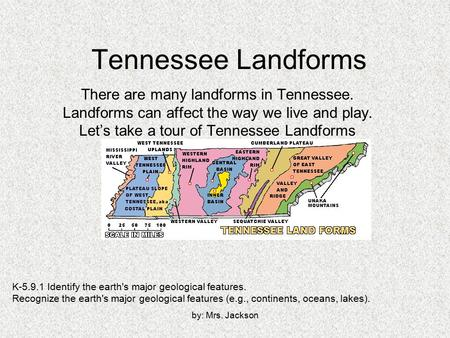 By: Mrs. Jackson Tennessee Landforms There are many landforms in Tennessee. Landforms can affect the way we live and play. Let's take a tour of Tennessee.