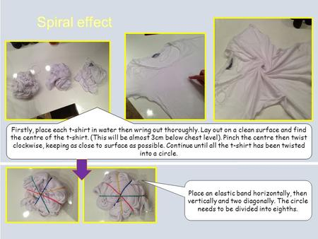 Firstly, place each t-shirt in water then wring out thoroughly. Lay out on a clean surface and find the centre of the t-shirt. (This will be almost 3cm.