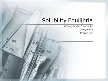 Solubility Equilibria Solubility Product Constant, K sp Precipitation Complex Ions.