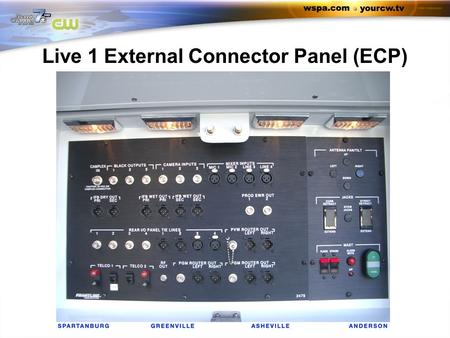 Live 1 External Connector Panel (ECP). Camplex: Not Used Black outputs Black 1 Black 2 Black 3.