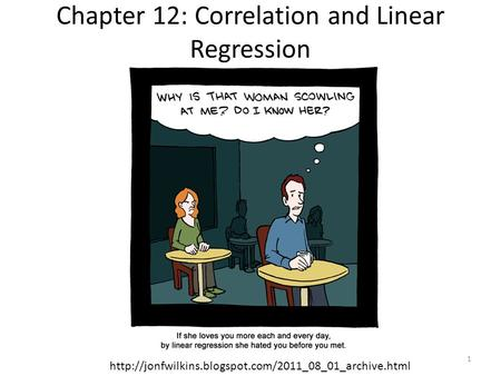 Chapter 12: Correlation and Linear Regression  1.