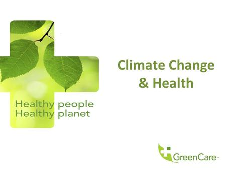 Climate Change & Health. What is the issue? Source: