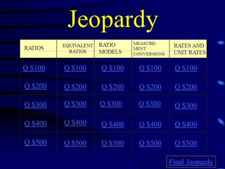 Jeopardy RATIOS EQUIVALENT RATIOS RATIO MODELS MEASURE- MENT CONVERSIONS RATES AND UNIT RATES Q $100 Q $200 Q $300 Q $400 Q $500 Q $100 Q $200 Q $300.