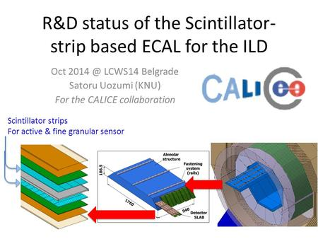 R&D status of the Scintillator- strip based ECAL for the ILD Oct LCWS14 Belgrade Satoru Uozumi (KNU) For the CALICE collaboration Scintillator strips.