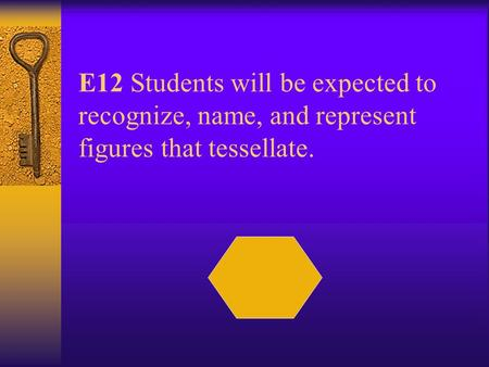 E12 Students will be expected to recognize, name, and represent figures that tessellate.