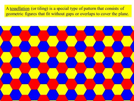 A tessellation (or tiling) is a special type of pattern that consists of geometric figures that fit without gaps or overlaps to cover the plane.