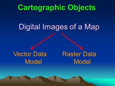 Cartographic Objects Digital Images of a Map Vector Data Model Raster Data Model.